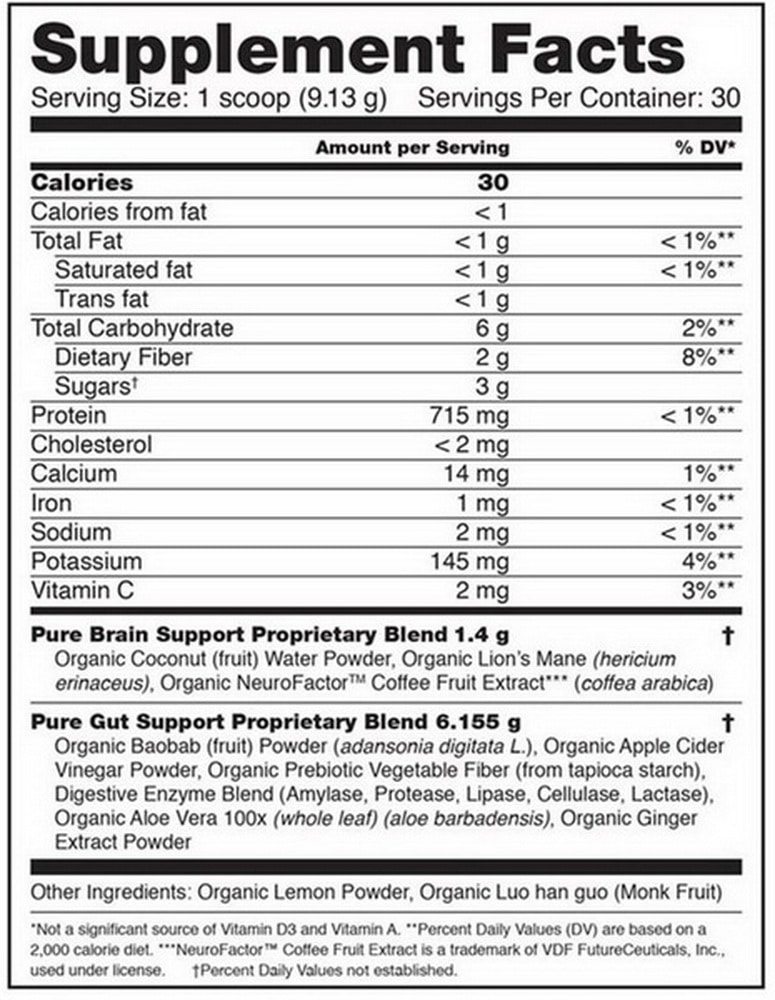 Organifi Pure Supplement Facts Label