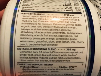 VitalReds Ingredient Label